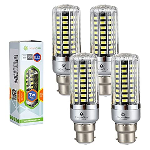 4×GreenSun 7W B22 Led Energy Saving Corn Bulbs SMD 5736