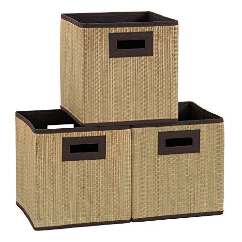Household Essentials 3 pk. Premium Fabric Storage Cubes | Grass Cloth Wicker Bin, Brown