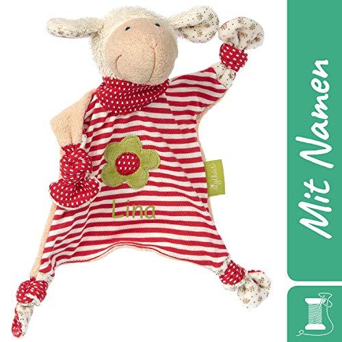 Sigikid Schnuffeltuch Schaf mit Namen Bestickt, Baby & Kinder Schmusetuch personalisiert, Kuscheltuch Geschenkidee Junge / Mädchen, Organic Green Bio, Rot, 40862