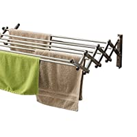 AERO W Space Saver Racks Stainless Steel Wall Mounted Collapsible Laundry Folding Clothes Drying Rack 27 Kilo Capacity 6.9 Linear Meter Clothesline