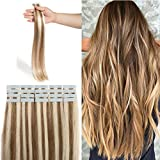 Extension Bande Adhesive Naturel Rajout Cheveux Naturel 100% Cheveux Humain Remy Pose a Froid 20...