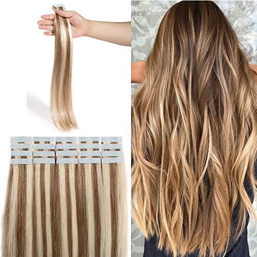 Extension adesive capelli veri biadesivo marrone dorato mix biondo #12/613 - lisci lungano 45cm, 2.5g/fascia 50g da confezione - 100% remy human hair tape in umani