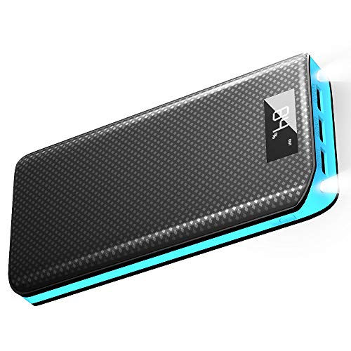 Caricabatterie Portatile X-DRAGON 20000mAh 3 Porte USB Power Bank Batteria Esterna con Display LCD per iPhone, iPad, Samsung, Huawei, Smartphone, Android, Universale Cellulare - Blu