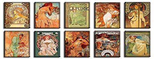 Time4art Alphons Alfons Mucha Print Canvas 10 Bild 10 x 30x30cm Die vier Jahreszeiten Princess...