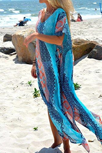 Donna Summer Disegno Geometrico Tunica Bohemian Parte Tagliata Il Costume Insabbiamenti Blue