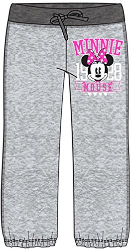 French Terry Classic Fit Pant (Disney Womens Fashion Pants Classic Minnie Mouse Gray and Pink (X-Small))