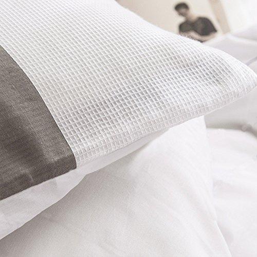 Merryfeel Bettwäsche-Set 2-3 teilige, 100% Baumwolle Garn gefärbt Bettbezug & Kissenbezüge – Grau - 6
