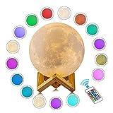 3D Mond Lampe Mondlicht Nachtlampe mit Remote & Touch Control 16 Lichtfarben wechselbar,beste Hauptdekorative,romantisches Geschenk für Schlafzimmer Cafe Bar kinderzimmer (16 Farbe, 15 cm)