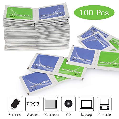 TIMESETL 100Stück Bildschirm Reinigungstücher Brillenputztücher, Feucht & Trocken Bildschirmwischtücher 6x6cm für Smartphone Display, Brillen, Computer Bildschirmen, PC Monitor, Laptop, Tablets