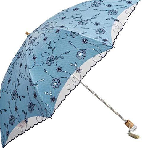 JianJu Faltbarer Sonnenschirm, Sonnenschirm für Damen mit UV-Schutz UPF 50+ Kompakte Größe mit schwarzer Unterseite Halten Sie Sich im heißen Sommer kühl,Blue