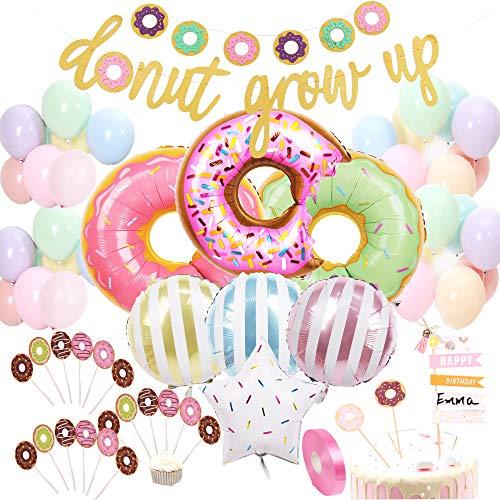 foci cozi Donut Geburtstag Dekoration Kit Donut Wachs Banner Mylar Foil und Latex Ballons Cupcake und Cake DIY Toppers für Donut Geburtstagsfeier Dekorationen