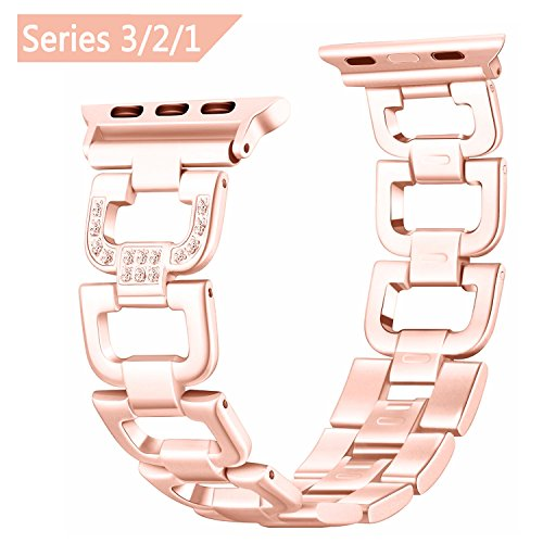 Apple Watch Armband 38mm für Frauen, BeYself Bling Straps Edelstahl Metall iWatch Straps mit Strass für Apple Watch Nike +, Serie 3, Serie 2, Serie 1, Sport,...