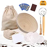 UHAPEER 26pcs Round Proofing Basket, Bread Baking Set Includes 1 Round Bread Basket, 1 Cloth Liner, 1 Bread Lame, 1 Dough Whisk, 5 Dough Scraper, 1 Natural Liner Storage Bag,16 Decor Stencils