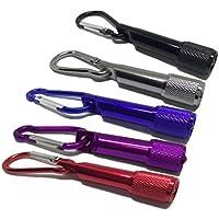 FiveRen portátil colorido Mini LED linterna antorcha luz carabiner bolsillo llavero al aire libre para ir de excursión fiesta de cumpleaños de escalada etc (5 piezas, negro / plata / azul / púrpura / rojo)