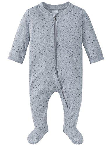 Schiesser Unisex Baby Zweiteiliger Schlafanzug Anzug mit Fuß, Grau (Grau-Mel. 202), 56 (Herstellergröße: 056)