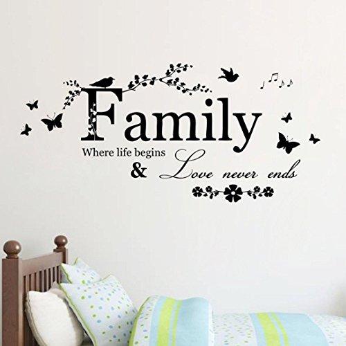 Adhesivo Decorativo Pared Pegatinas de Pared Family para Dormitorios, Salones, Decoración del hogar, Baños o Cualquier Superficie Lisa Cuartos Cocina Oficina Diseño de Texto en Inglés