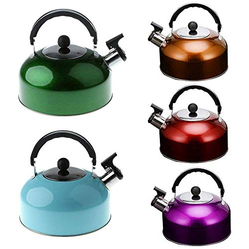 Gopendra Stainless Steel Whistling Tea Kettle with Heat Proof Handle, Tea Kettles Stove top, Tea Pot, 3 Liter,Multi Color Send
