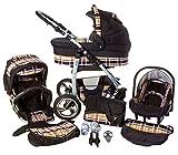 Chilly Kids Dino 3 in 1 Kinderwagen Set (Autosit & Adapter, Regenschutz, Moskitonetz, Schwenkräder) 37 Beige Karo & Schwarz