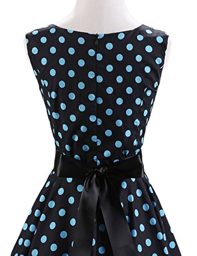 VKStar® 50er 60er Retro kleider damen mit Tupfen Abendkleid Vintage damen Rockabilly Ballkleid blaue Punkte