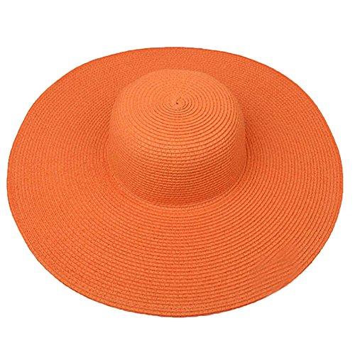 Yontree Chapeau de Plage Capeline Pliable Contre Soleil Paille Eté Bord Large Femmes Orange