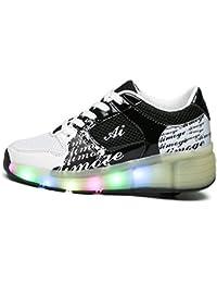 LILY999 Junge Mädchen Mit Rollen Sneaker Led Farbwechsel Schuhe Skateboard Rollschuhe für Unisex-Kinde