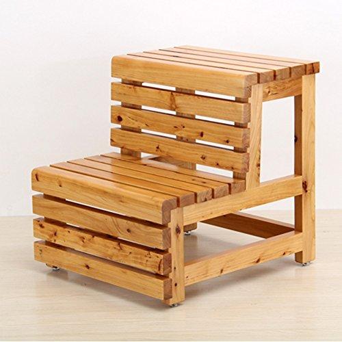 Massivholz 2 Schritte Hocker Haushaltsleiter Dual Use Treppen Fuß Hocker Aufstiegsleiter (Farbe : Holzfarbe)