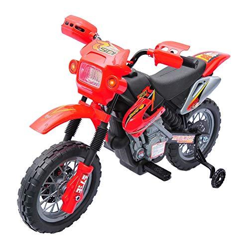 HOMCOM Moto Electrica Infantil Bateria 6V Recargable Niños 3+ Años Cargador y Ruedas Apoyo Color Rojo
