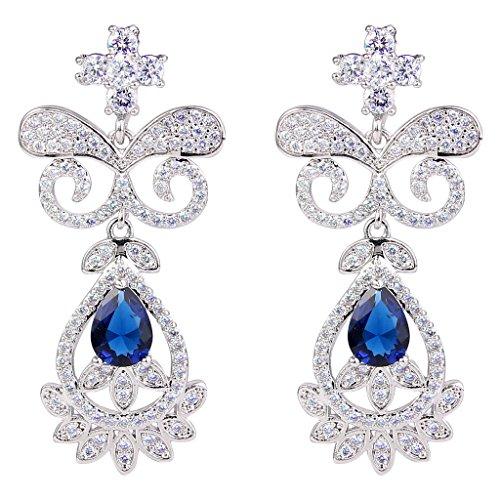 EVER FAITH® Femme Cubic Zirconia Papillon Floral Goutte d'Eau Boucle d'Oreilles Pendentif Ton d'Argent Bleu