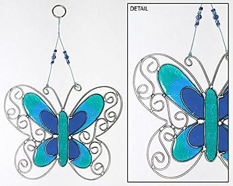 Suncatcher Schmetterling blau H23 cm Fenster Fensterhänger