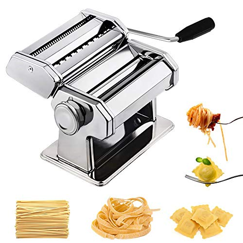WXCCK Stainless Steel Manual Fresh Pasta Maker, 9 Adjustable Different Thickness Settings for Fresh Homemade Fettuccine Noodle Making Machine