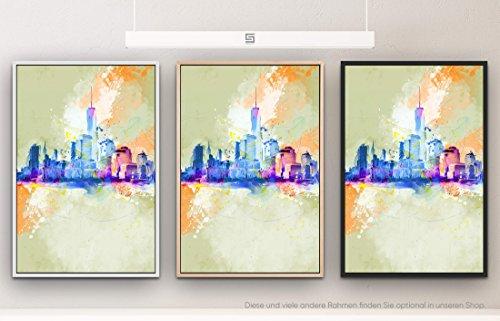 Skyline 90x60cm auf Leinwand im Schattenfugenrahmen Weiss