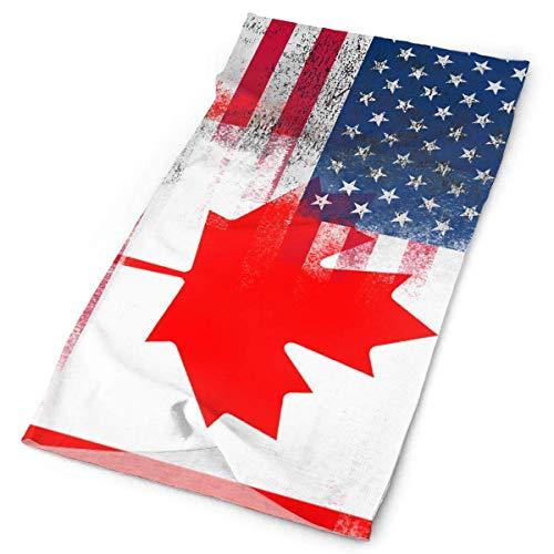 Wfispiy American Canada Flag Tube Bandanas Headwear Headband Multi Scarf Face Mask Neck Gaiter 9.8x19.7inches,25x50cm