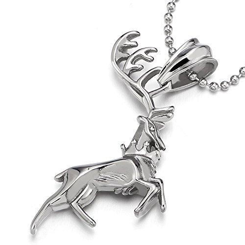 COOLSTEELANDBEYOND Ciervo Reno Collar con Colgante de Hombre Mujer, Acero Inoxidable, Bola Cadena 75MM