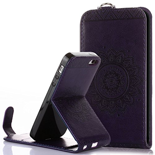 Custodia iPhone 5 iPhone 5S iPhone SE,Ukayfe Flip Cover Case Custodia per iPhone 5 iPhone 5S iPhone SE in pelle PU,iPhone 5 iPhone 5S iPhone SE Lussuosa Astuccio Custodia Cover [PU Leather] [Shock-Abs Porpora