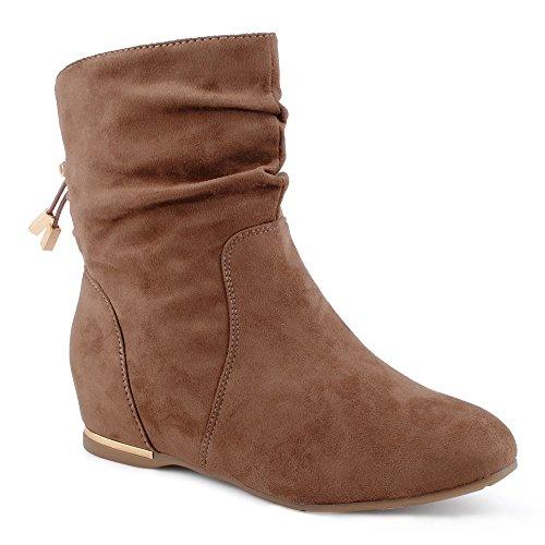 Damen Stiefeletten Schlupf Stiefel Reißverschluss Velours-Optik Schnür Boots Schuhe Khaki