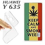 Imprimé + Film verre trempé pour Huawei Ascend Y635Housse K178Keep Calm and smoke Weed Maria