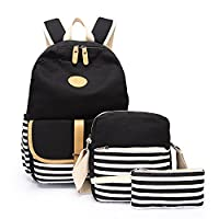 Aiduy Canvas Backpacks for Girls / Women Travelling Bags, Casual Daypack + Shoulder Bag + Pencil Case (Black - 2)