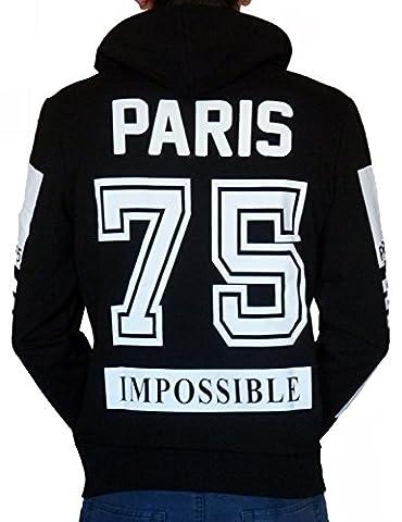 CELEBRY TEES Sweat à capuche noir Impossible 55 Paris 75 (S)