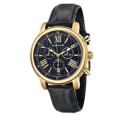 Thomas Earnhshaw Men's Longcase 43 Quartz Watch with Black Dial Chronograph Display and Black Leather Strap ES-0016-0A
