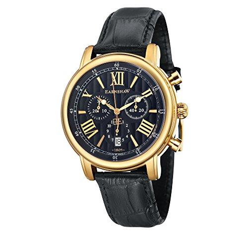Thomas Earnshaw Longcase 43 ES-0016-0A Montre à quartz pour homme Avec cadran noir à affichage chronographe et bracelet en cuir noir