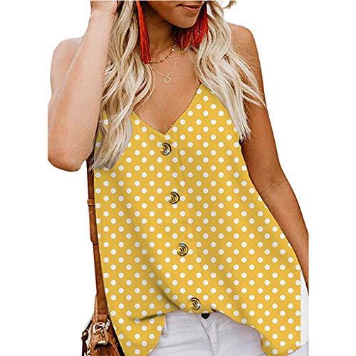 Aiserkly Frauen-Tanktop mit V-Ausschnitt und geknöpftem Trägerdruck Lose ärmellose Freizeithemden Gelb M