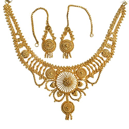 Mansiyaorange Traditional One Gram Gold Original Look Wax Forming Golden Necklace Set For Women  available at amazon for Rs.385