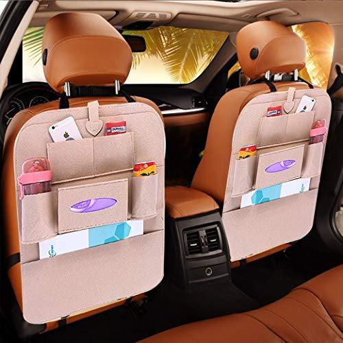 Sportplay Auto Rückenlehnenschutz Rücksitzorganizer für Autositz mit iPad-Tablet-Halter Beige(2 Stück)
