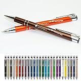 100 Stück Metall Werbekulis Kugelschreiber mit einseitiger Laser Gravur Logo Text usw werbungo