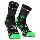 Compressport SHT2BR - Calcetines unisex, color negro/verde, talla 35-38