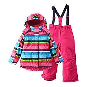 M2C Mädchen Skianzug Skihose & Skijacke mit Kapuze Gestreift