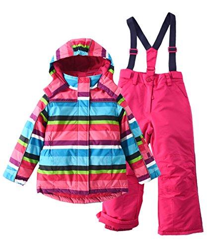 M2C Mädchen Skianzug Skihose & Skijacke mit Kapuze Gestreift 110 Rosa   06932782805600