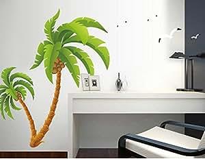 ufengke® Arbre de Noix de Coco Verte Mouette Stickers Muraux, Salle de Séjour Chambre à Coucher Autocollants Amovibles