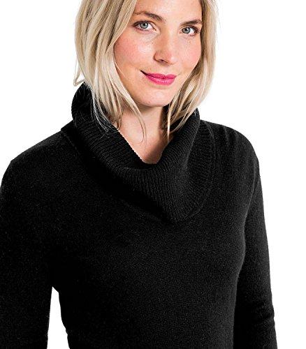WoolOvers Pull à col boule - Femme - Cachemire & Mérinos Black