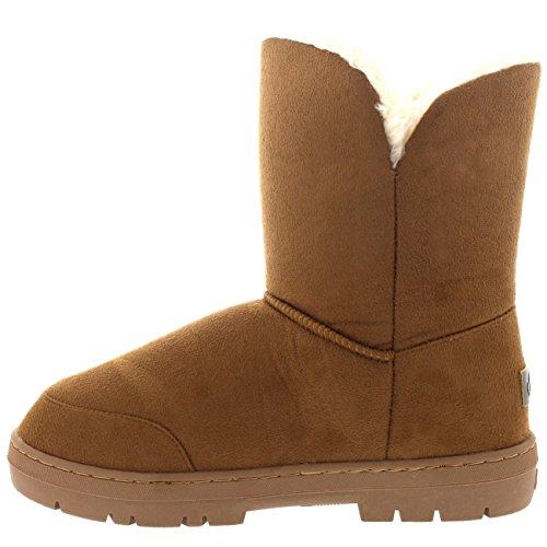 Damen Schuhe Twin Knopf Fell Schnee Regen Stiefel Winter Fur Boots Licht Tan